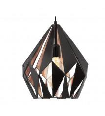 Carlton 1 suspension noir & cuivre E27 60W-