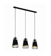 AUSTELL suspension noir/doré L765 3xE27 60W-