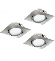 Pineda spots carrés orientables 84mm nickel lot de 3-