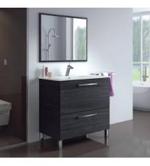 Urban Meuble sdb80 gris 1p abat+1t+miroir+vasque:1114349+1114350