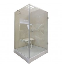 Cabine de douche 90x90xH195 satin clear verre 6mm